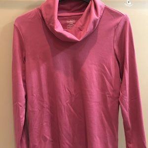 Pink Cowl Neck Long Sleeve Shirt